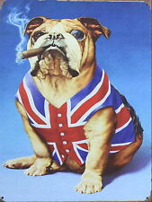 bulldog union jack british, Retro metal Aluminium Sign vintage bar pub man cave