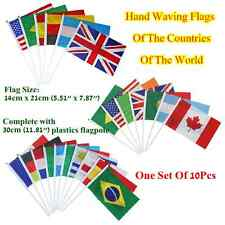 "One Set 10Pcs Hand Waving Flags,Flag is 5.51""x 7.87"",National flags of the World"