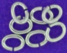 10 STRONG HEAVY STERLING SILVER 925 OPEN OVAL JUMP RINGS, 6 MM, 0.8 MM WIRE
