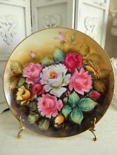 """Drop Dead Gorgeous 12"""" Round Antique ROSES Oil Painting on PORCELAIN"""