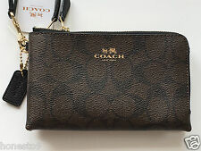 NWT COACH BROWN BLACK SIGNATURE LEATHER DOUBLE ZIPPER WALLET/WRISTLET