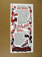 1947 Hickory Valley Farm Smoked Hams & Bacon pilgrims pig turkey art print Ad