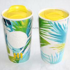 2016 Starbucks Hawaii Hawaiian Blue Palms Ceramic Travel Tumbler Mug 12 OZ NEW