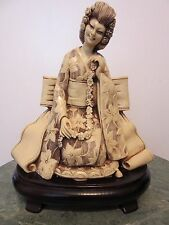 BEAUTIFUL ASIAN WOMAN FIGURINE STATUE RESIN FAUX BONE ON WOODEN STAND