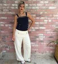 Vintage 80's Bloomingdale's Nautical Wide-leg Cream Silk Trousers 8/M