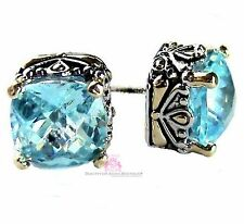 10mm Beauty for Ashes Checker Two Tone Throne Room Aqua Blue Topaz CZ Earrings