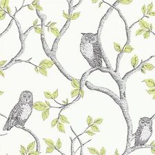 New Fine Decor Woodland Trees Wallpaper FD40637-Birds Owls Forest Green / Silver