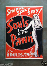 "Vintage Burlesque Movie Poster Fridge Magnet 2 1/2"" x 3 1/2"" Souls in Pawn"