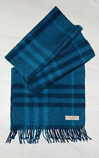 Authentic BURBERRY Blue 100% Cashmere Nova Check Large Mens Scarf