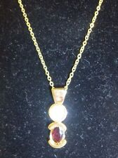 1ct. genuine ruby red garnet .5 pt. genuine diamon 1 ct CZ gold plated Necklace