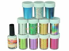 12 pcs Nail Art Transfer Foil Sticker for Nail Tips Decoration & Glue Set USA