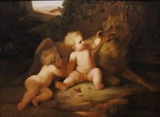 Romulus & Remus c.1800 Old Master Birth of Rome Italy oil painting