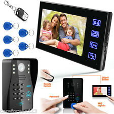 "Touch Key 7"" LCD RFID Password Video Door Phone Doorbell Intercom System Camera"