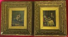 Antique 19th Century Oil's On Metal Girl And Her Dog And A Seated Lady With Fan