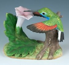 "Porcelain Bisque 3"" Stripe-Tailed Hummingbird w/ Datura Bird Figurine 1996"
