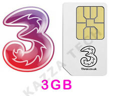 THREE PAYG SIM CARD WITH 3GB FREE DATA PRE-LOADED For MIFI Dongle Tablet 3G 4G