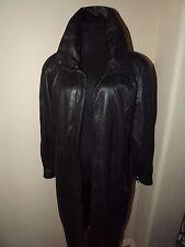 STYLISH AND WARM Women's Black Leather Long Coat Jacket Sz M 10 - FULLY LINED