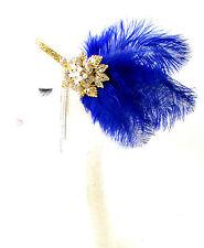 Royal Blue Gold Silver Feather Headpiece 1920s Flapper Headband Ostrich Vtg 1793