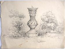 David Charles Read (1790-1851) Early 19th Century landscape drawing. Sundial.