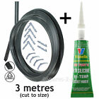 3m Door Seal + Silicone Glue for AEG Baumatic 3 or 4 Sided Oven Cooker + Clips