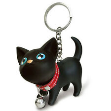 Fashion Cat Kitten Keychain Keyring Bell Toy Lover Key Chain Rings Black Cat