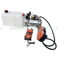 6 Quart Double Acting Hydraulic Pump 12V Dump Trailer +  Wireless Remote Control