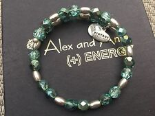 NEW ALEX and ANI QVC VINTAGE 66 HEALING DREAM TEAL Silver Beaded Wrap BRACELET��