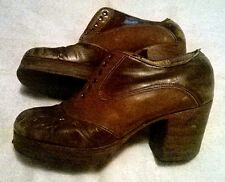 Vintage 1970s Mens Disco Platform Leather Shoes-Survivors-Real McCoy-Need Referb
