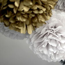 24 (8+8+8)  gold and white tissue paper pom poms - wedding party decorations
