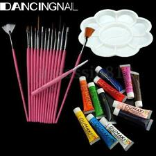 12 Colors Acrylic Nail Art Tube Painting Pigment +15 Brushs Pen Palette Dish Set
