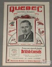 1933-34 Reds VS Quebec Beavers Program Gagnon