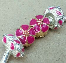 Rose Gold Purple Pink Blossom Flower Rhinestone White Metal European Charm Beads