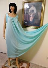 LUCIE ANN VTG Nylon SEAFOAM GREEN Satin Banded Sleeve Nightgown size S small