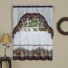 WOODLAND Kitchen Curtain Tier & swag  Set , Picturesque cabin in woods - bears
