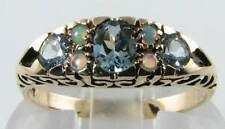CLASS 9K SOLID GOLD NATURAL AQUAMARINE &  OPAL RING FREE RESIZE