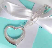 Tiffany & Co Elsa Peretti Silver Large Huge Open Heart Oval Link Chain Necklace