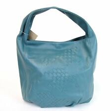 New Authentic BOTTEGA VENETA Blue Leather Hobo Bag Woven Detail 176976 4403