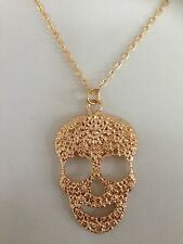 Free shipping gold plated fashion jewellery necklace Pendant Skelton