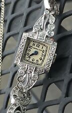 1900 Vintage Antique Deco Hamilton PLATINUM .60ct VS Diamond Ladies Luxury Watch