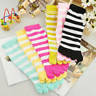 6 Pairs Women Colorful Striped Five Finger Ankle Length Cotton Warm Toe Socks