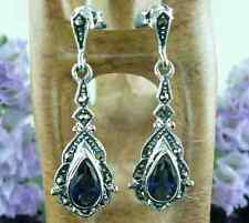 Sterling Silver MARCASITE & SAPPHIRE Art Deco Style Long Drop Earrings