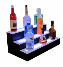 "24"" Triple Tier LED Lighted Glowing Liquor Bottle Shelf Back Bar Display Stand"