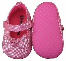 MiniFeet Baby Girls Party Shoes Christening Shoes Wedding Hot Pink 0-6 Months