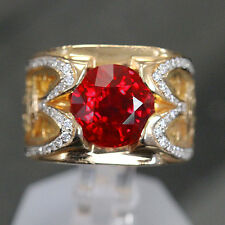 4.02 ct Huge Round Pigeon Blood Ruby GRS , GIA  Custom Unique Mens Ring.