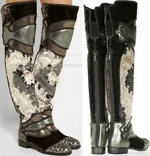 DOLCE & GABBANA Runway Knight Armor Over Knee Boots One of a Kind size 40 (US10)
