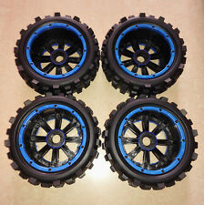 BEST GIANT GRIP MONSTER TIRE WHEEL SET BLUE ALLOY RING MadMax for Traxxas X-MAXX