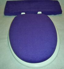 Solid PURPLE fleece Elongated Toilet Seat Lid and Tank Lid Cover Set