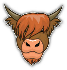 Highland Cow Head Car Bumper Sticker Decal 5'' x 5''