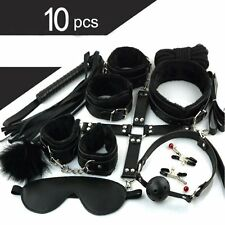 10 pcs BDSM Bondage Restraints Set Kit Ball Gag Cuff Whip Collar Fetish Sex Toys