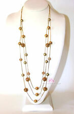 Womens Long Gold Goldtone Spheres Chain Clear Crystal Layered Fashion Necklace